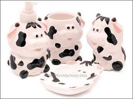 Bathroom Set Cow Kitchen Tools Decor Creamer Print