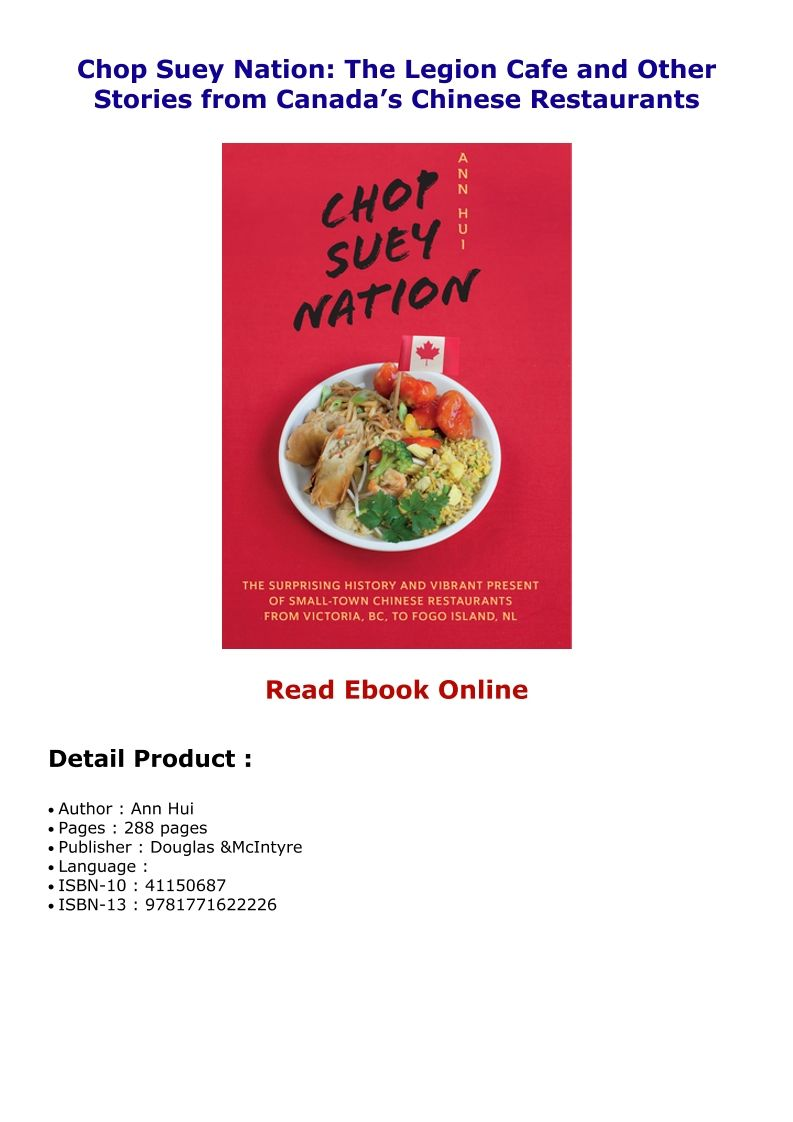 Chop Suey Nation The Legion Cafe And Other Stories From Canada S Chinese Restaurants Chinese Restaurant Chop Suey Cafe