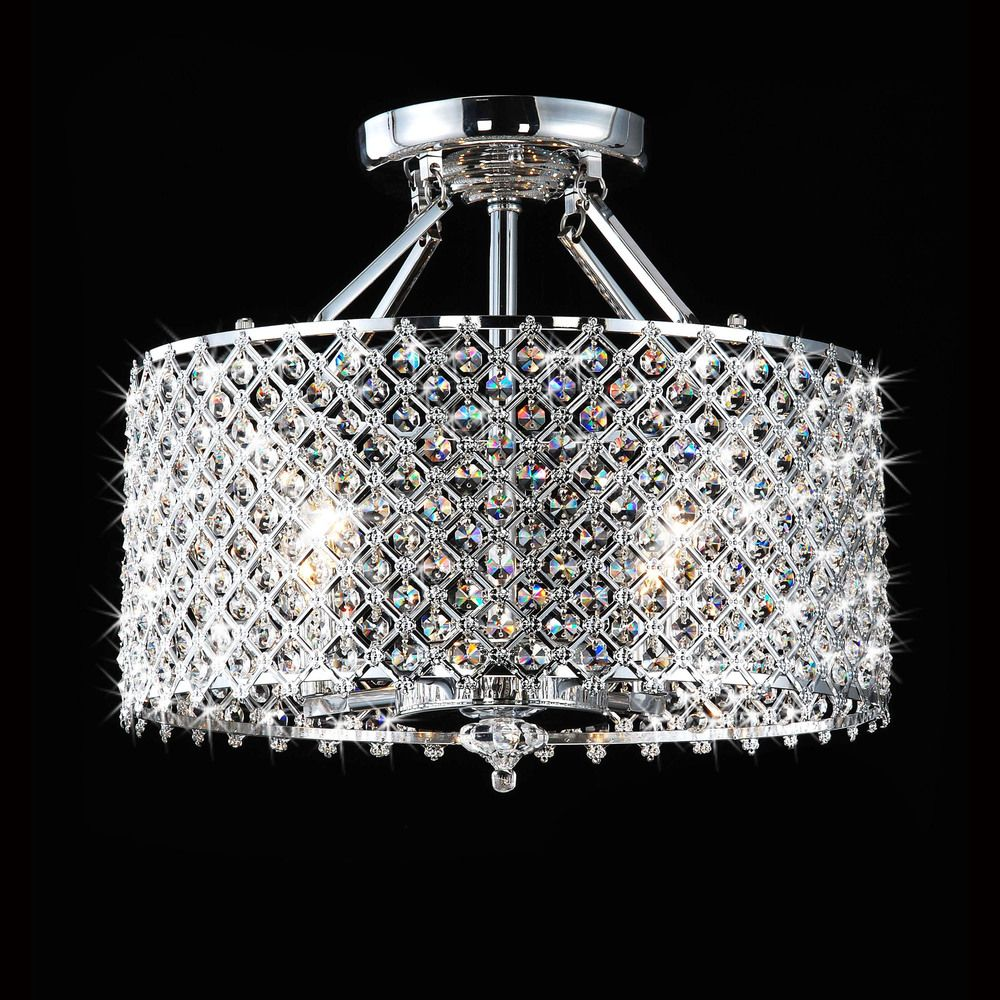 Chrome Crystal 4 light Round Ceiling Chandelier