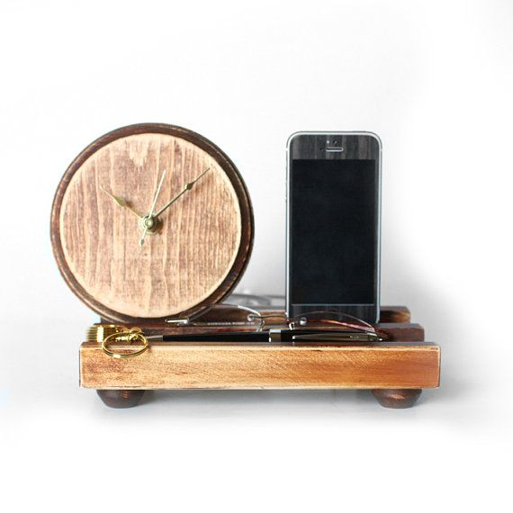 Organization Station - iPhone 5 Dock, Clock, and Tray Distressed ...