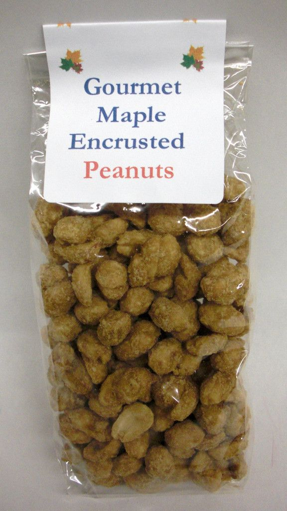 Maple Encrusted Peanuts in 4oz bags.