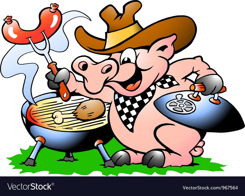 Handdrawn of an Pig standing and making BBQ Vector Image