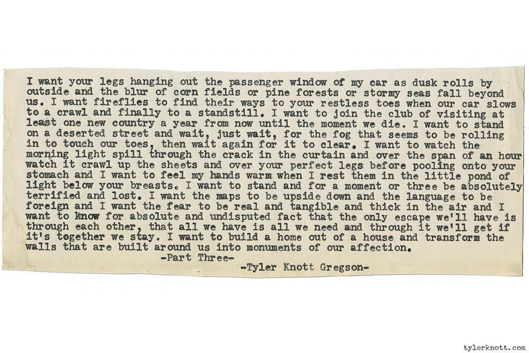 Typewriter Series 1303 By Tyler Knott Gregson Order All The