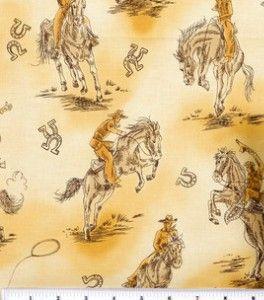 Cowboy Print Cotton Fabric | Novelty Cotton Fabric-Cowboy Toile