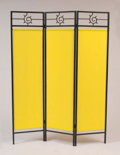 6 Ft Tall Solid Frame Fabric Room Divider 4 Panels: Sunburst Privacy Screen Black-Yellow By Idm Worldwide