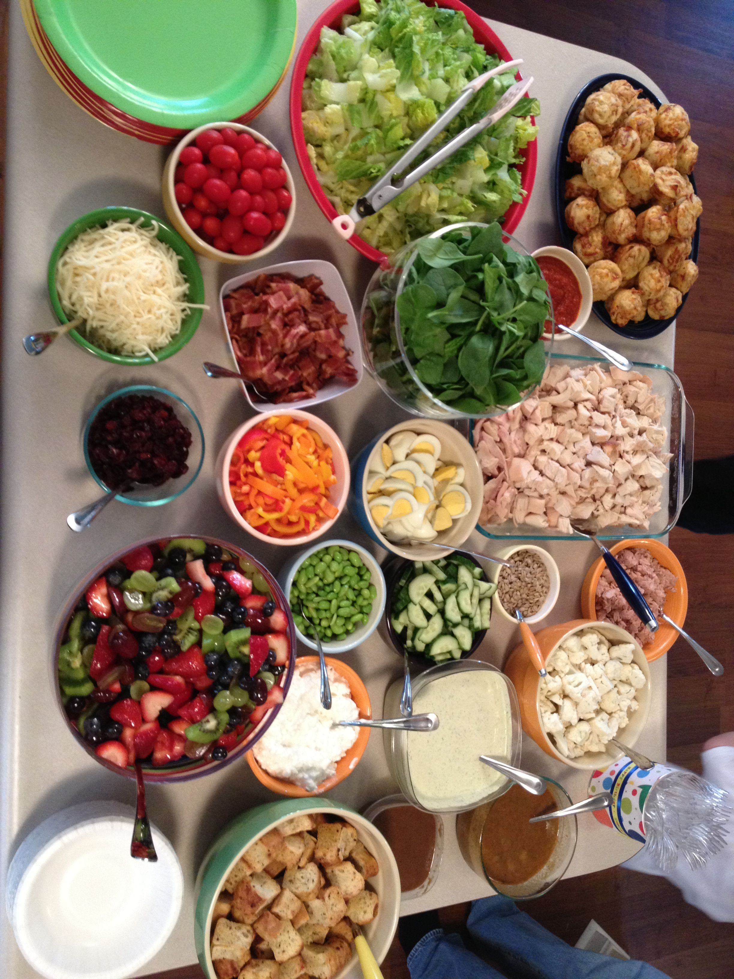 ideas for bridal shower brunch food%0A DIY Salad Bar  perfect for a luncheon with my girls