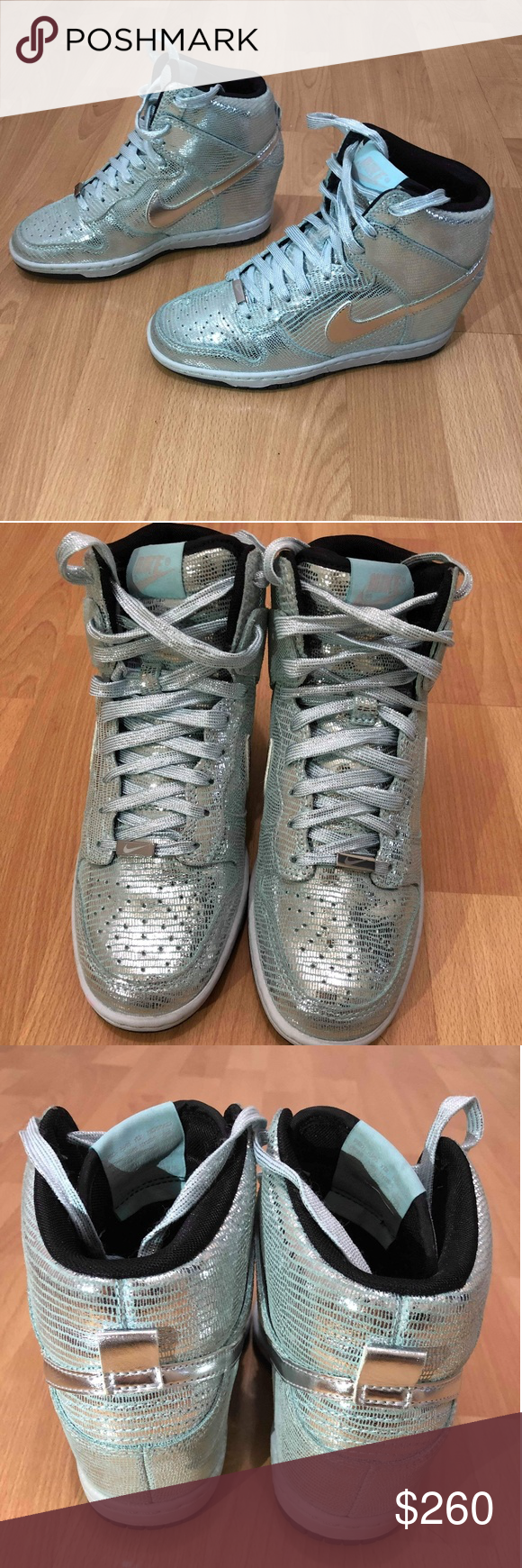finest selection ee3f4 ae0ae Nike Dunk Sky Hi QS Wedge Disco Ball silver womens Nike Dunk Sky Hi QS  Wedge Disco Ball silver womens size 5.5 shoes 637991-001 ITEM FEATURES!