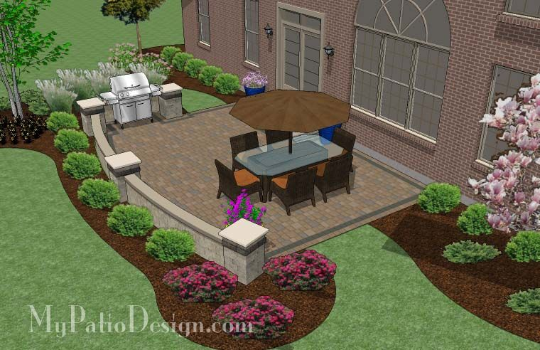480 Sq Ft Backyard Patio Design With Grill Station And Seating