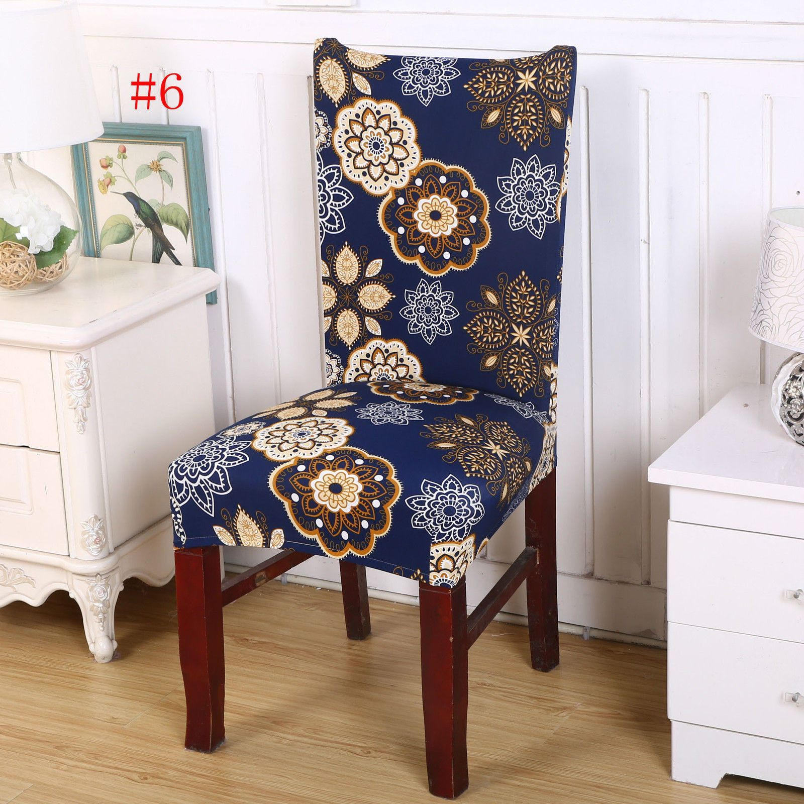 short dining room floral chair seat removable elastic stretch rh pinterest co uk
