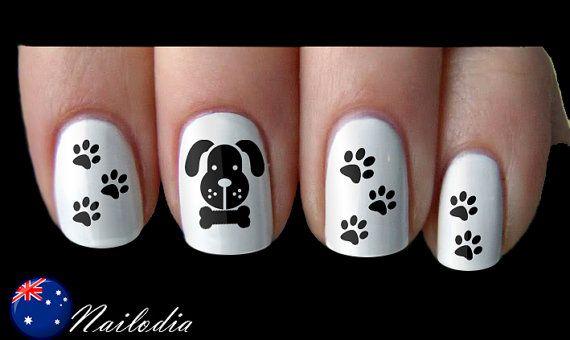 Dog Paw Bone Nail Art Sticker Water Transfer Decal 033 Len