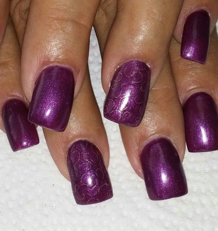 Purple gel polish with etching accents   My Nails Rock!   Pinterest