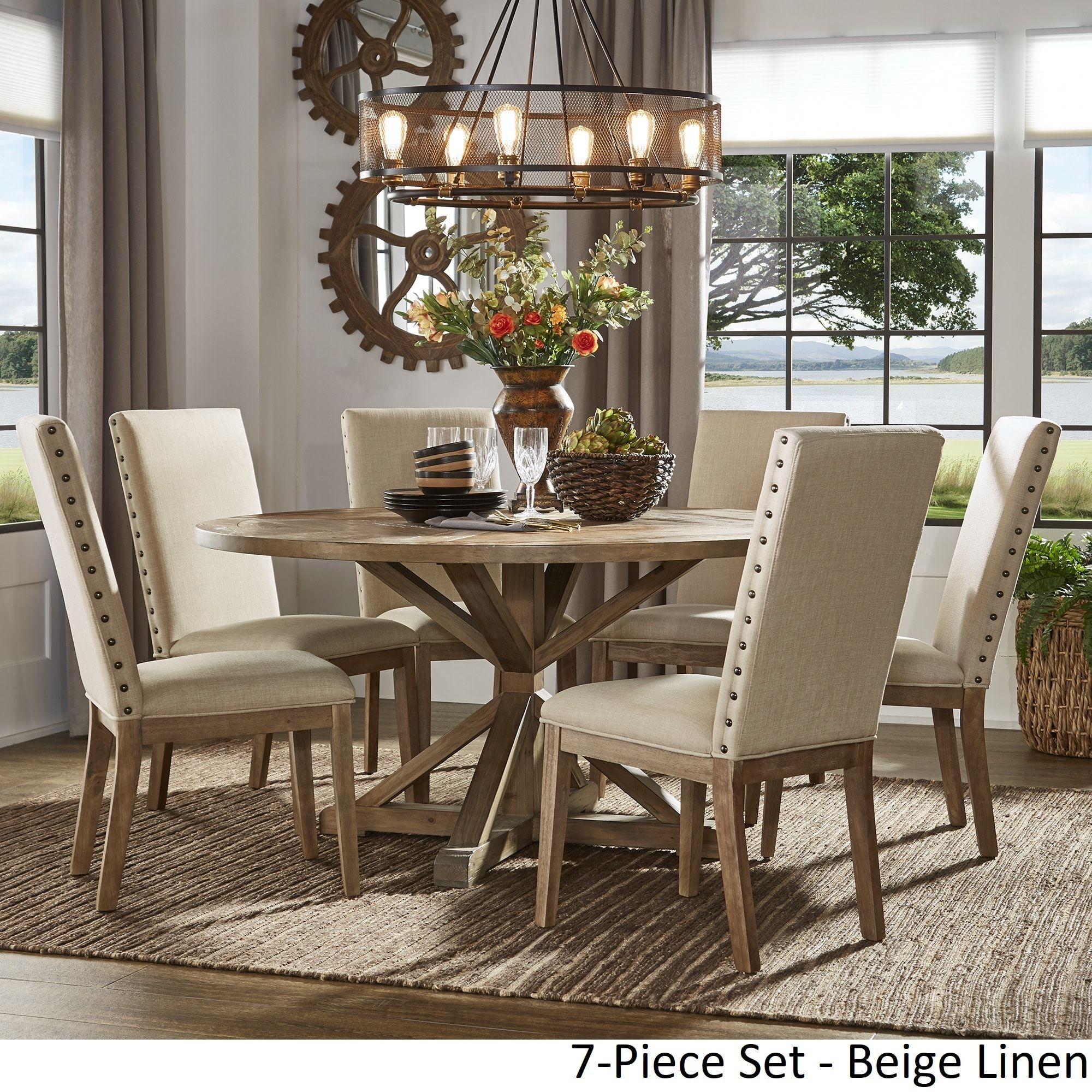 benchwright rustic x base round pine wood dining set with nail head rh pinterest com