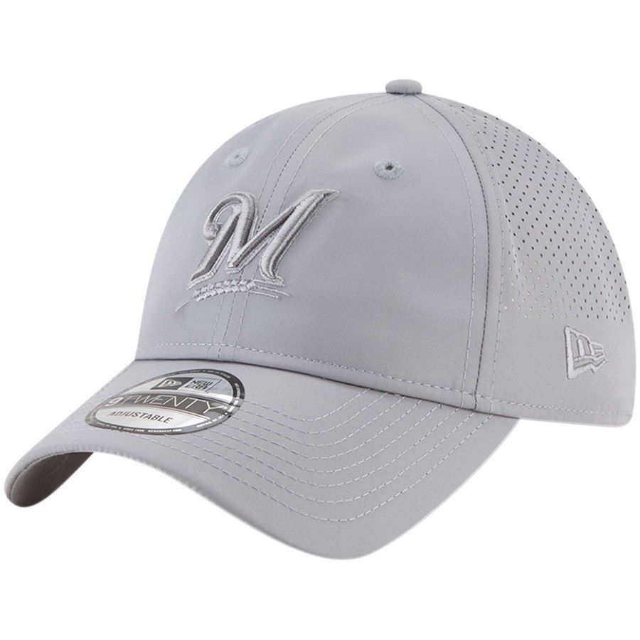 the latest 95d05 d7605 Men s Milwaukee Brewers New Era Gray Perforated Tone 9TWENTY Adjustable Hat,  Your Price   25.99