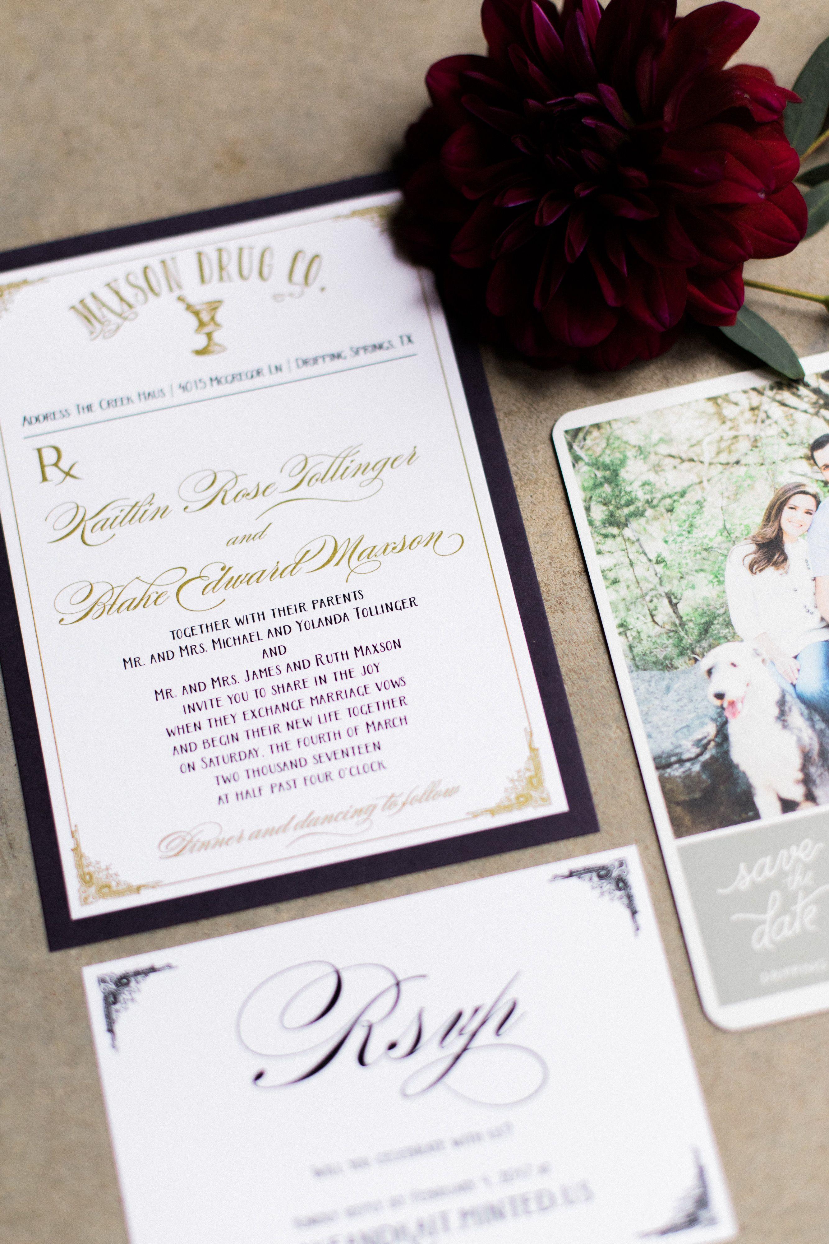 Prescription pad wedding invitation set for a