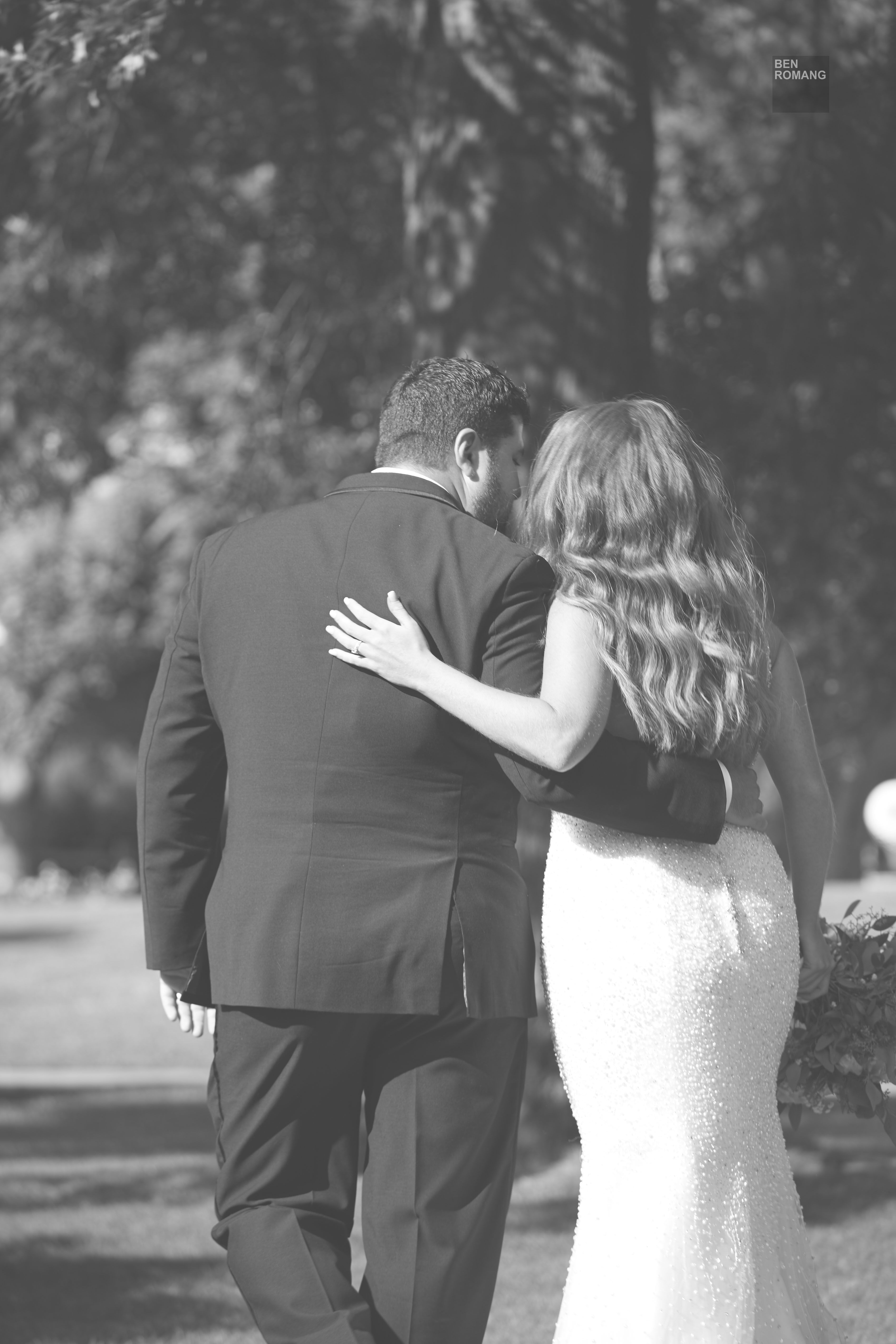 Black and White Outdoor Wedding Portrait of Bride and Groom - Ben Romang Photography