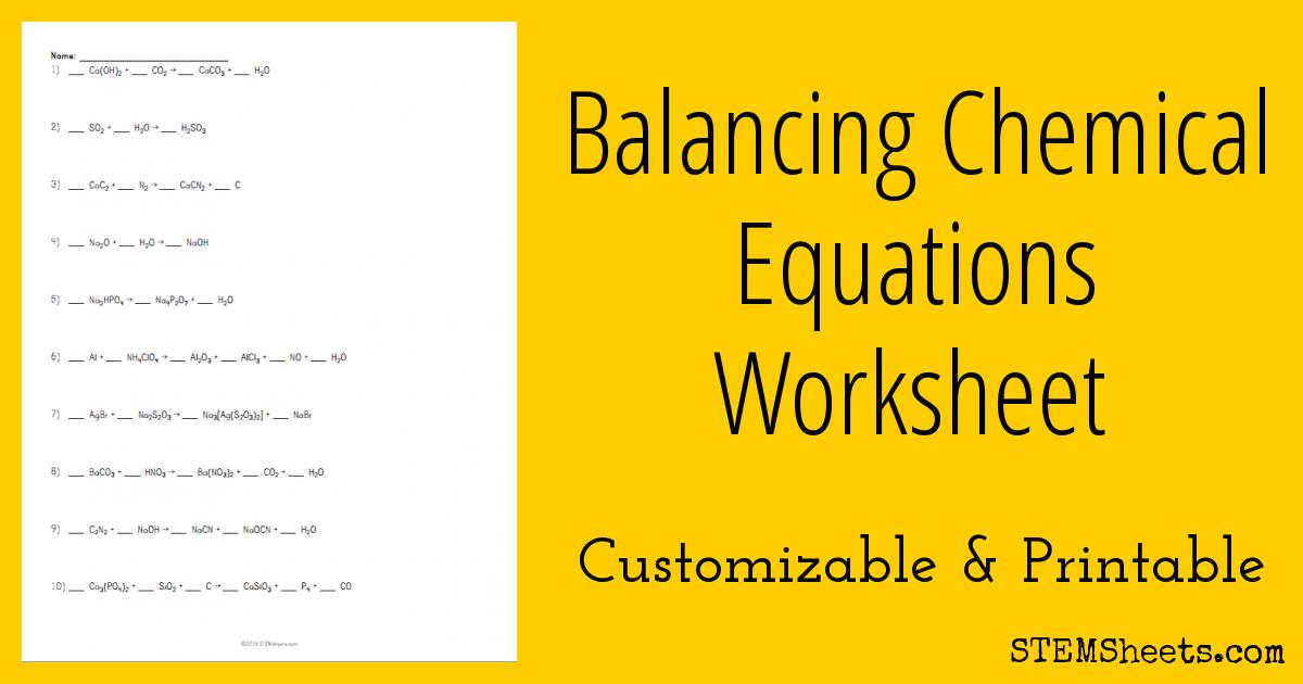 Balancing Chemical Equations Worksheet Balancing Equations, Chemical  Equation, Equations