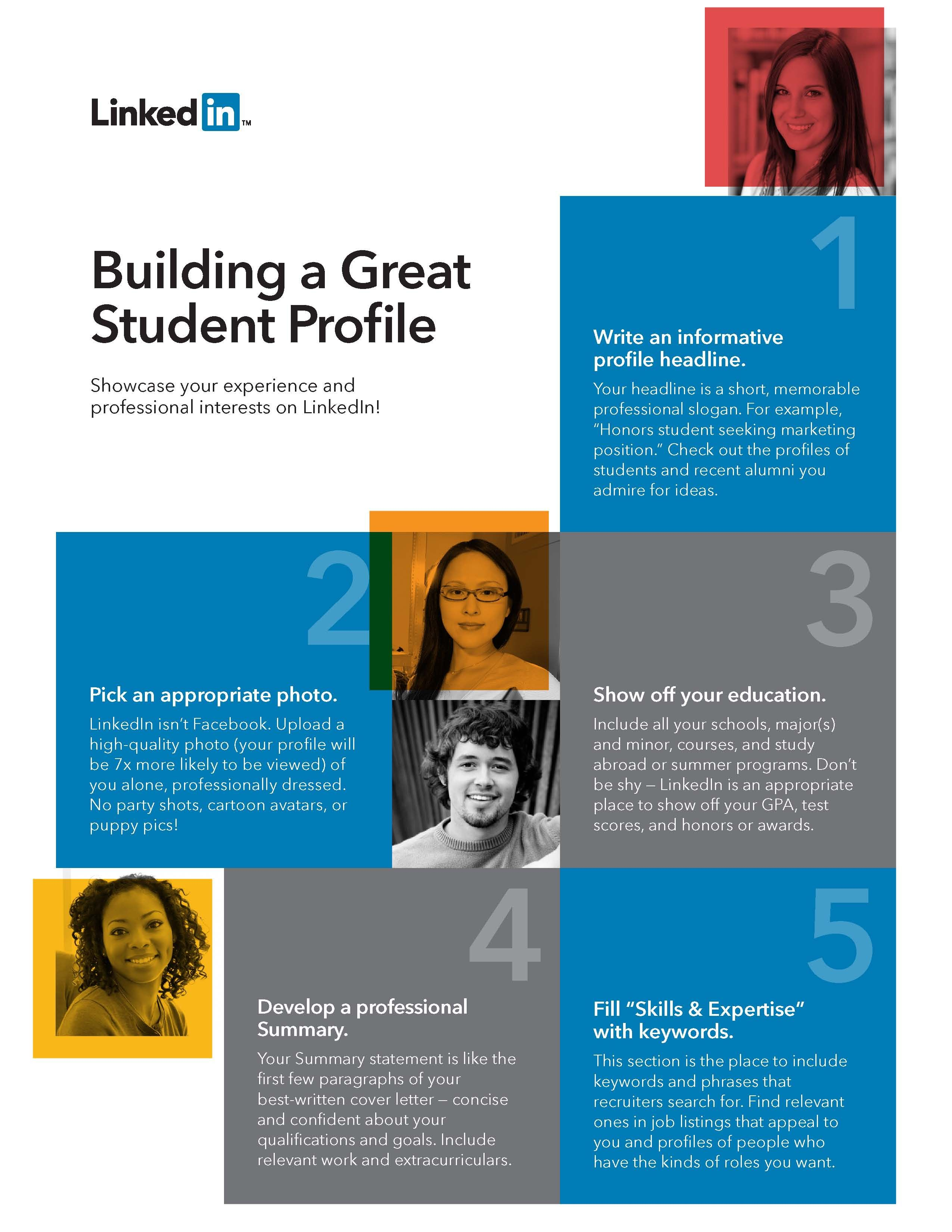 linkedin building a great student profile http university