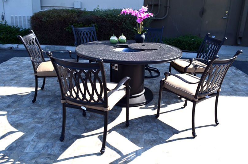 propane fire pit table grill set cast aluminum patio furniture grand rh pinterest cl