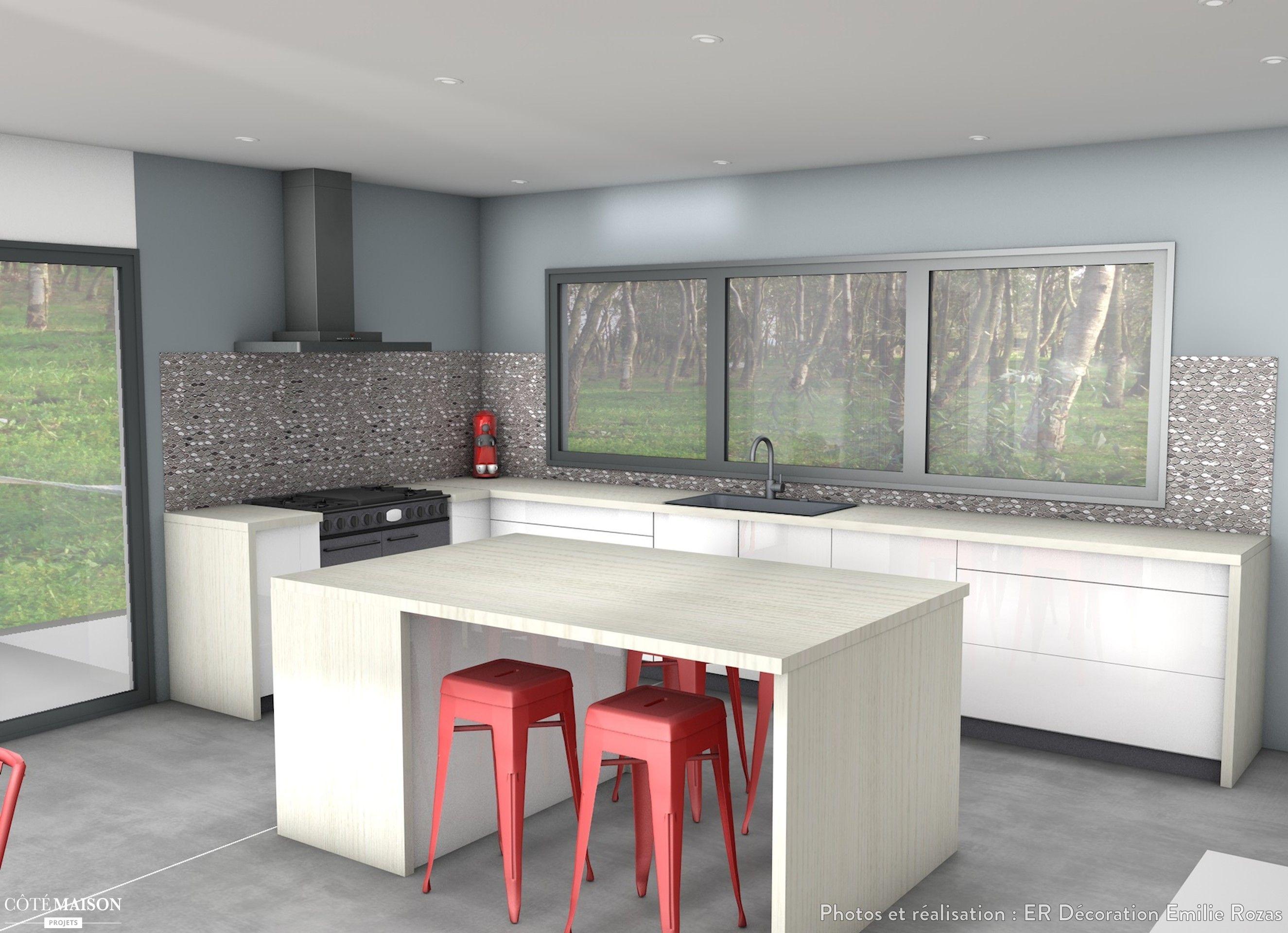 réalisation 3d d'une cuisine avec un ilot central. | plans