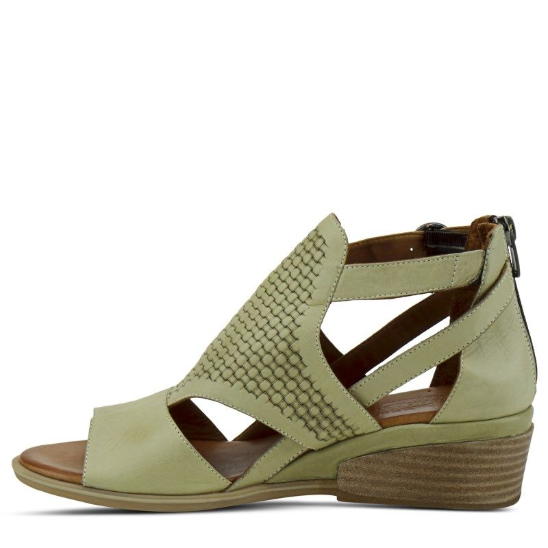 Spring Step Women's Padeeda Peep Toe Wedge Shoes (Olive Green)