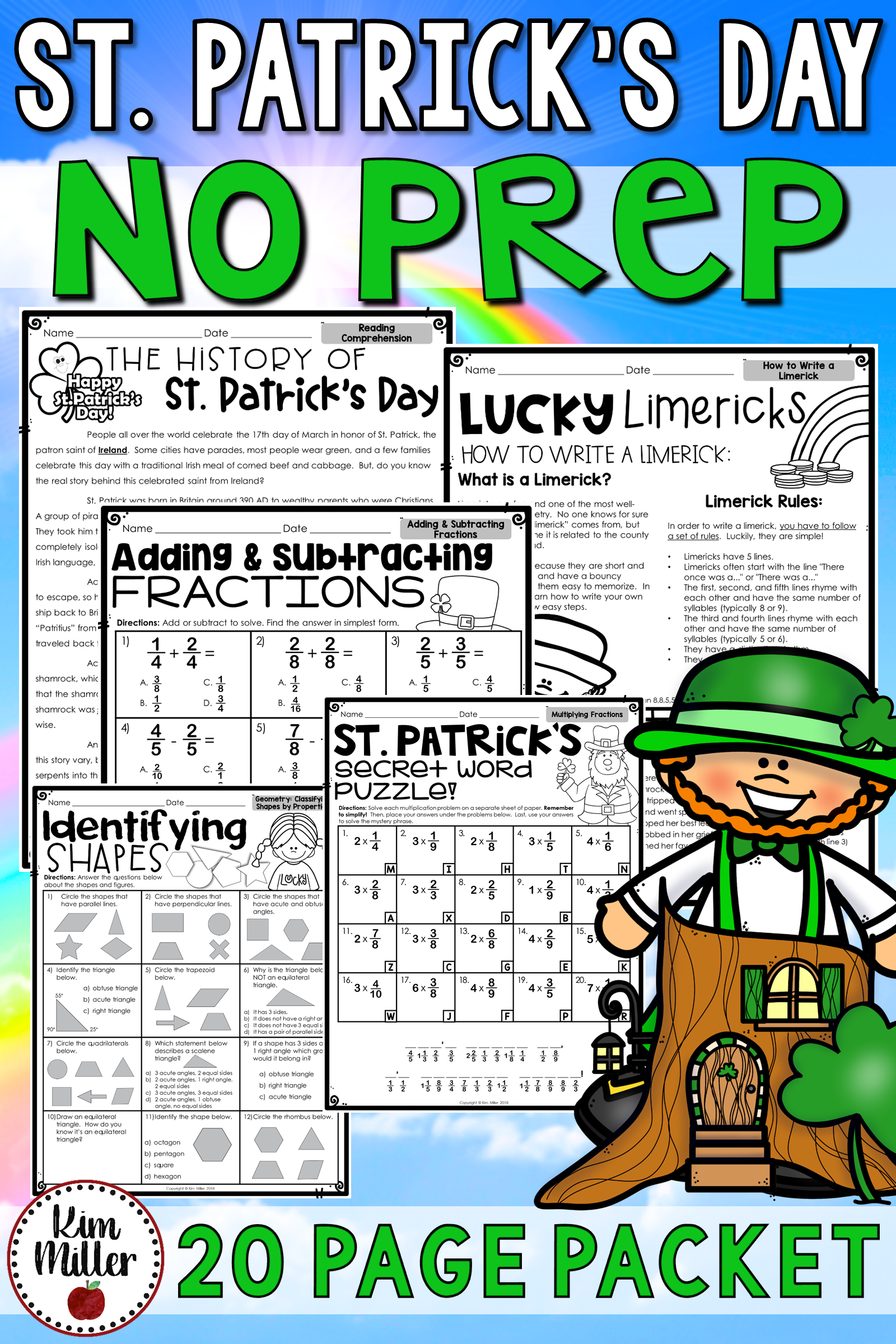 St. Patrick's Day Math and Reading Activities No Prep | Math ...