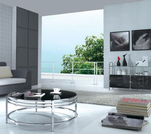 contemporary black glass round coffee brown table products rh pinterest com