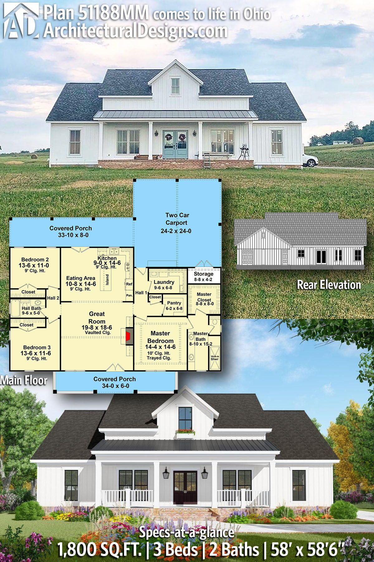 Plan 51188mm Open Concept 3 Bed Modern Farmhouse Plan With Carport In 2020 Modern Farmhouse Plans Farmhouse Plans Dream House Plans
