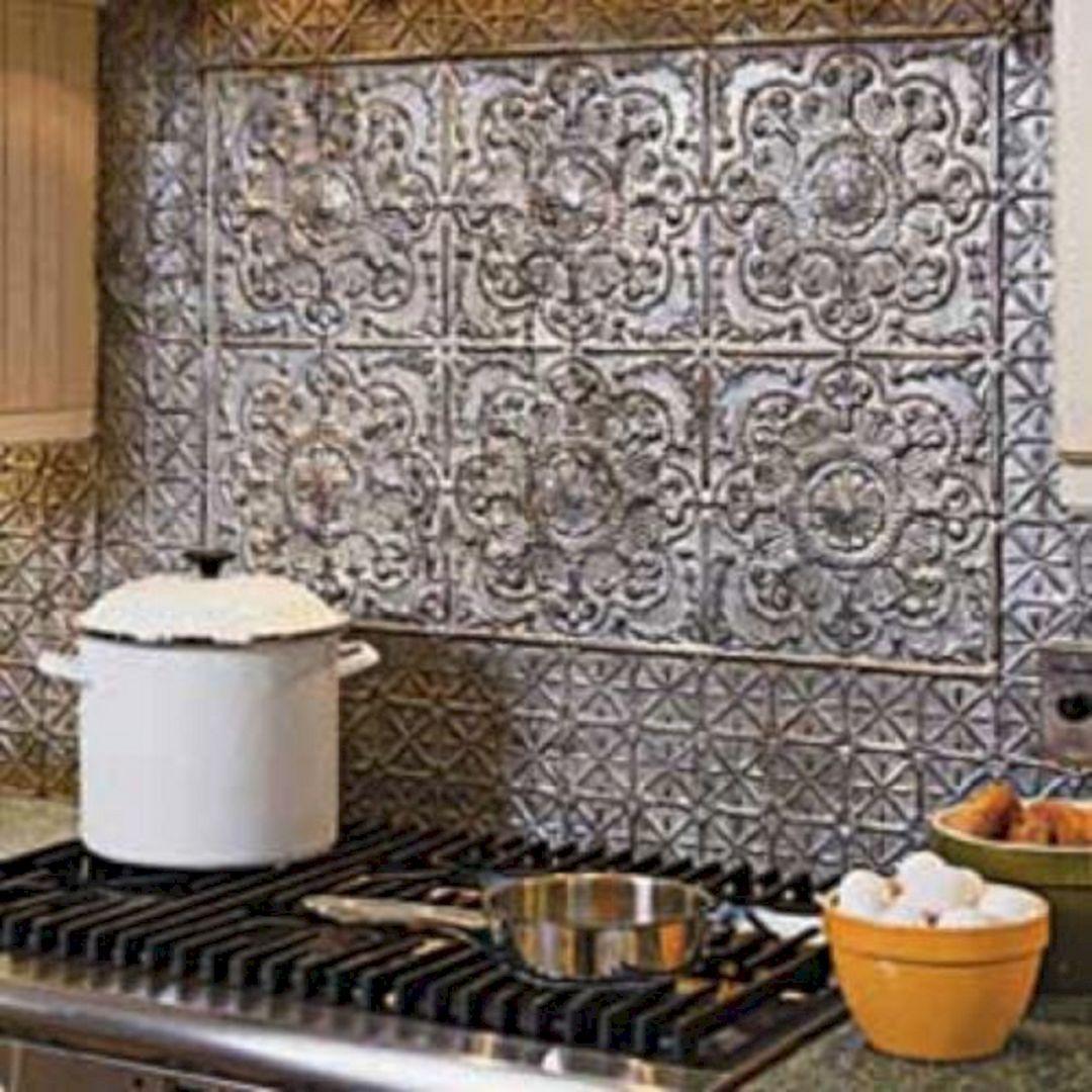 35 Beautiful Rustic Metal Kitchen Backsplash Tile Ideas For Your Awesome Kitchen Freshouz Com Tin Backsplash Kitchen Metallic Backsplash Metal Backsplash Kitchen