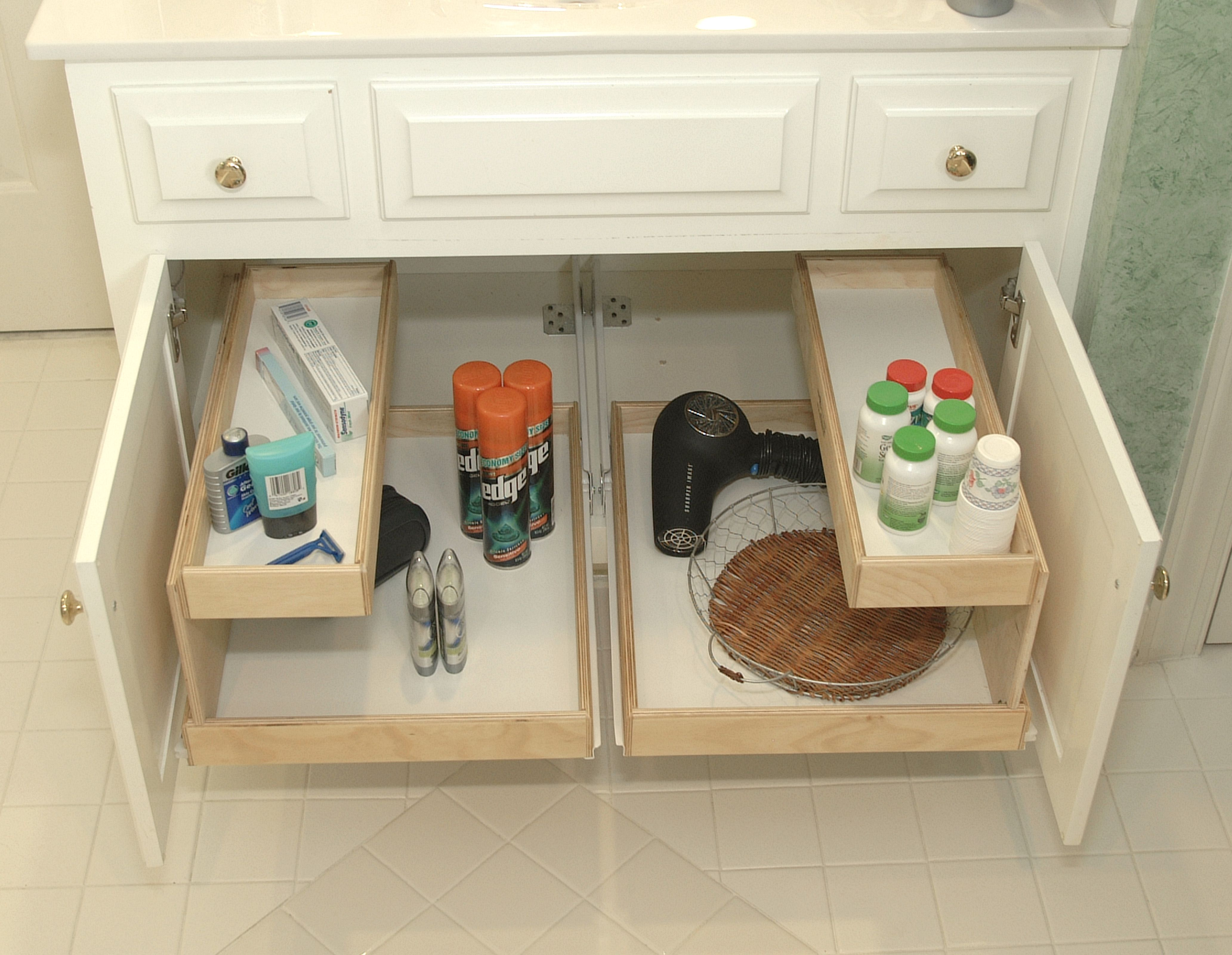 Ordinaire Bathroom, Under Sinks Bathroom Cabinet Organizing Ideas With Small Wooden  Cabinet With Drawer And Tray Makeup Shelves Ideas: Bathroom Organization  Ideas To ...