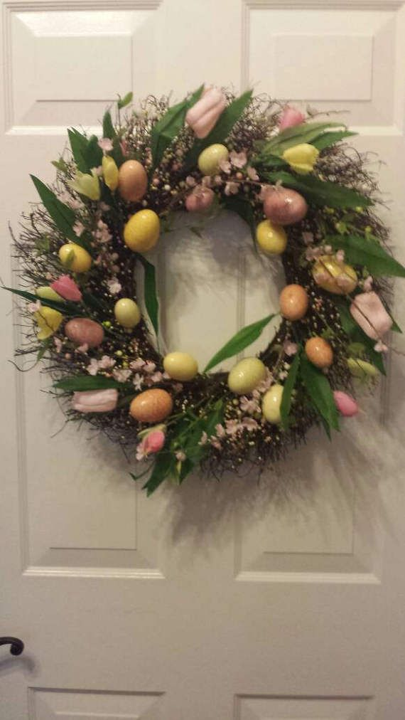 Beautiful easter egg wreath with tulips wreath
