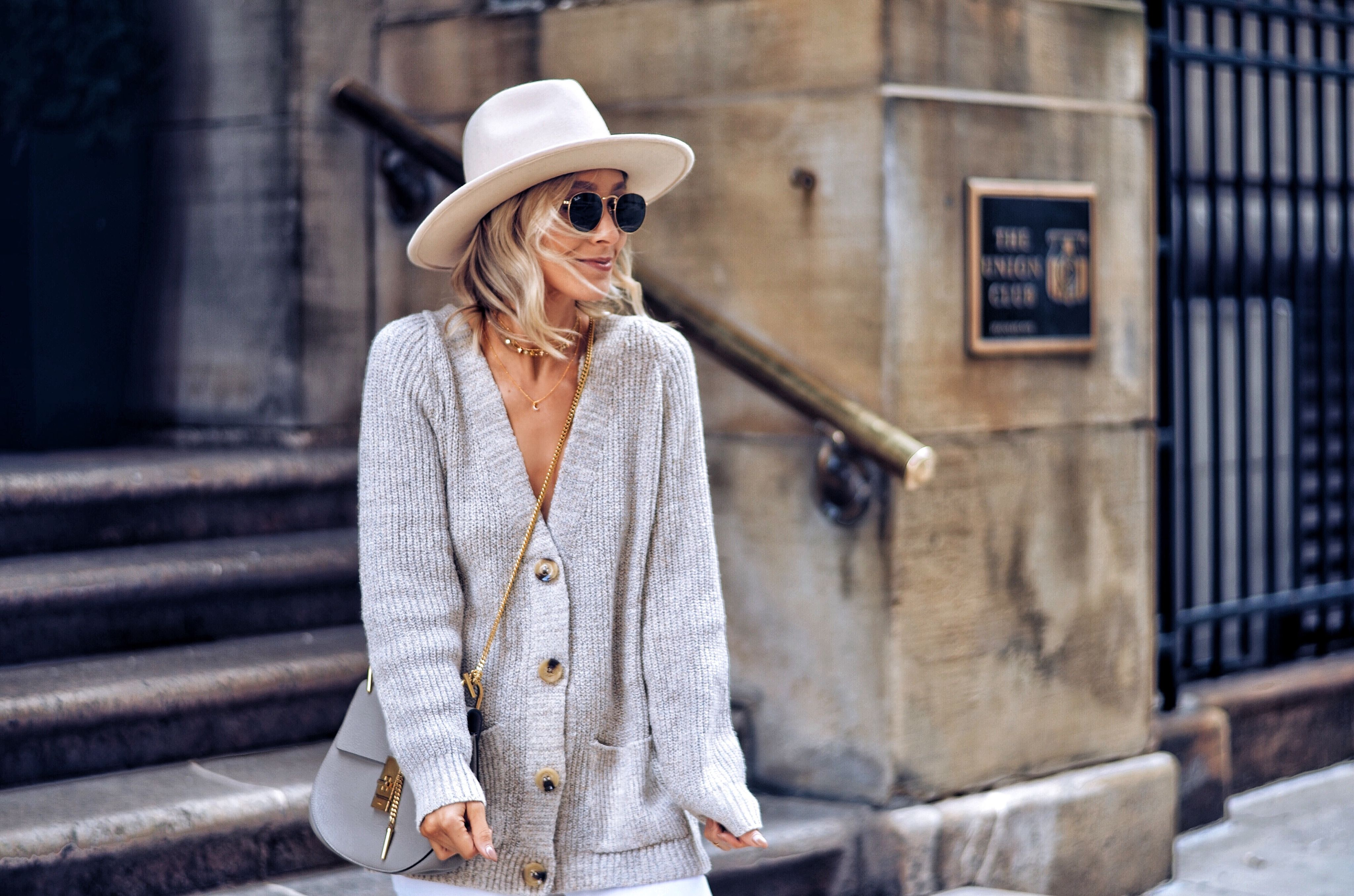 0e339604f45 Felt Hat · Sweater Outfits · neutral fall outfit | neutral outfit | neutral  outfit ideas | cardigan sweater outfit | felt