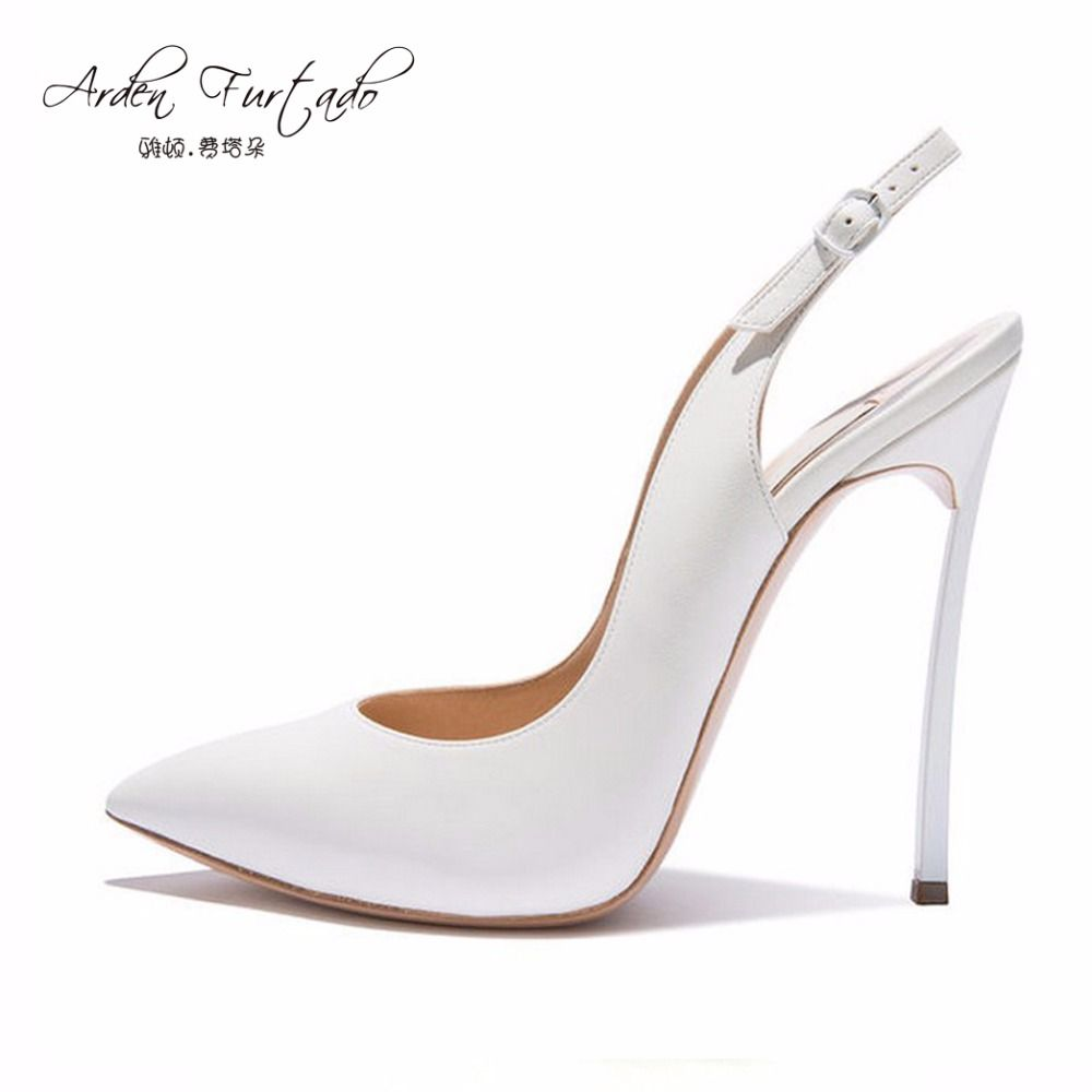 Arden Furtado 2017 extreme high heels 12cm sexy party Stiletto back strap blue white shoes for woman pumps sandals plus size