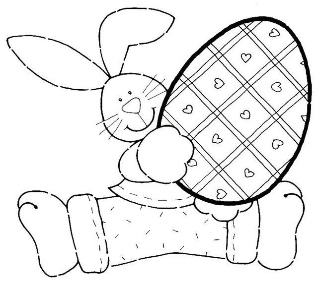coelho com ovo da páscoa para colorir
