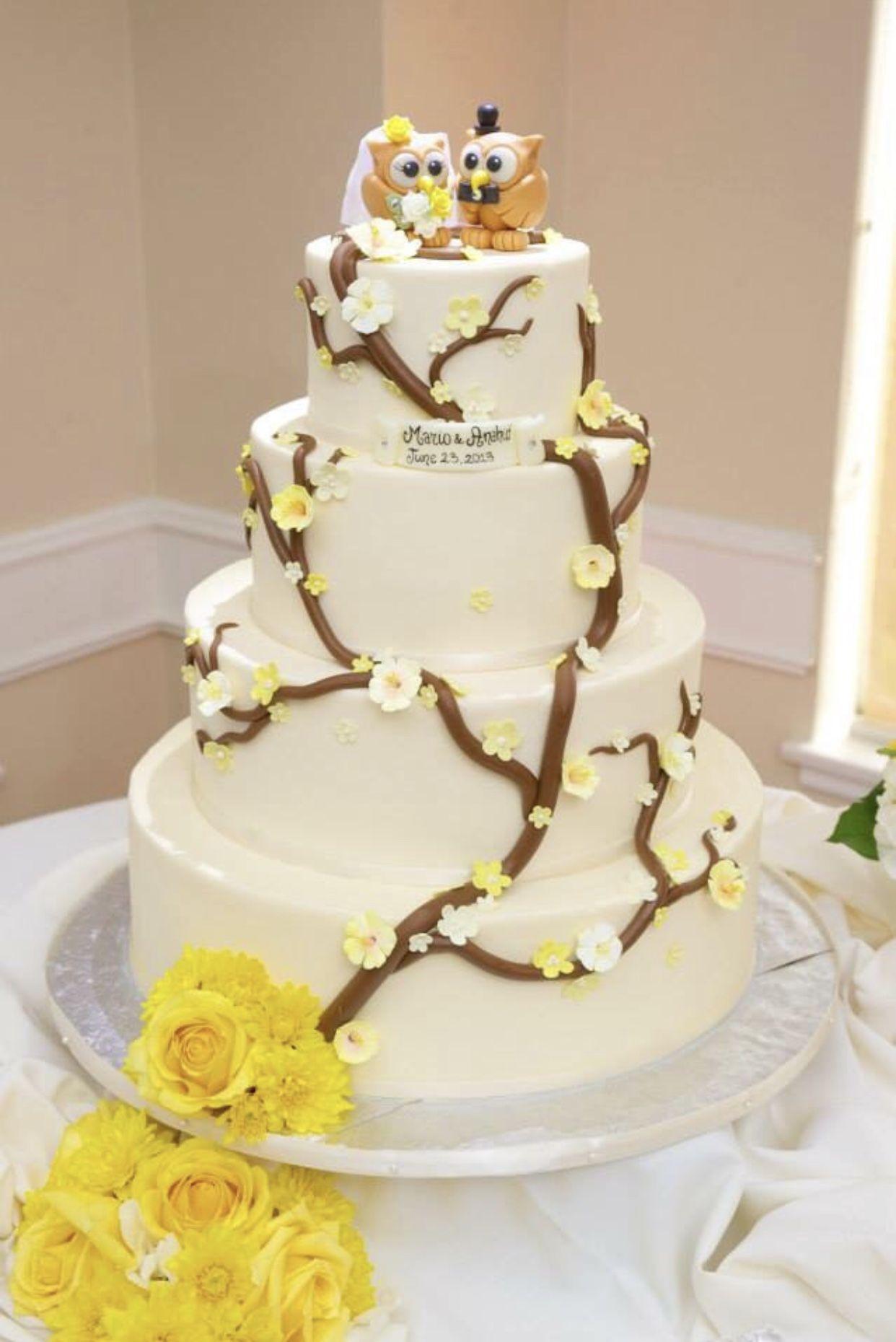 Owl cake topper for wedding, bride and groom love birds cake topper ...