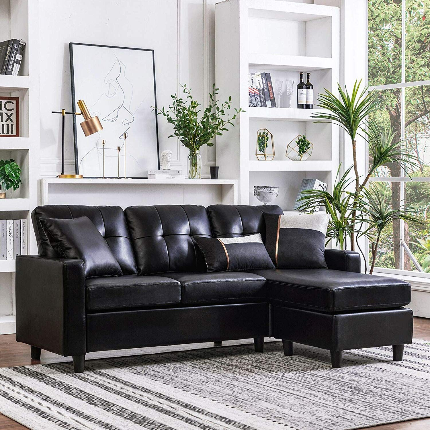 The 5 Best Cheap Sectional Couches In 2020 Small Space Sectional Sofa Faux Leather Sectional Black Sectional Living Room