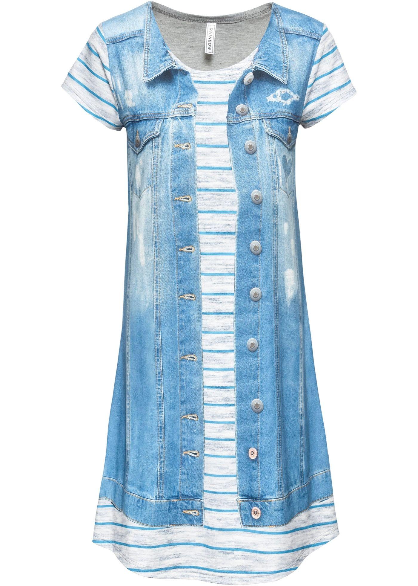 Kleid mit Jeansprint  Kleider, Outfit und Kleid mit ärmel