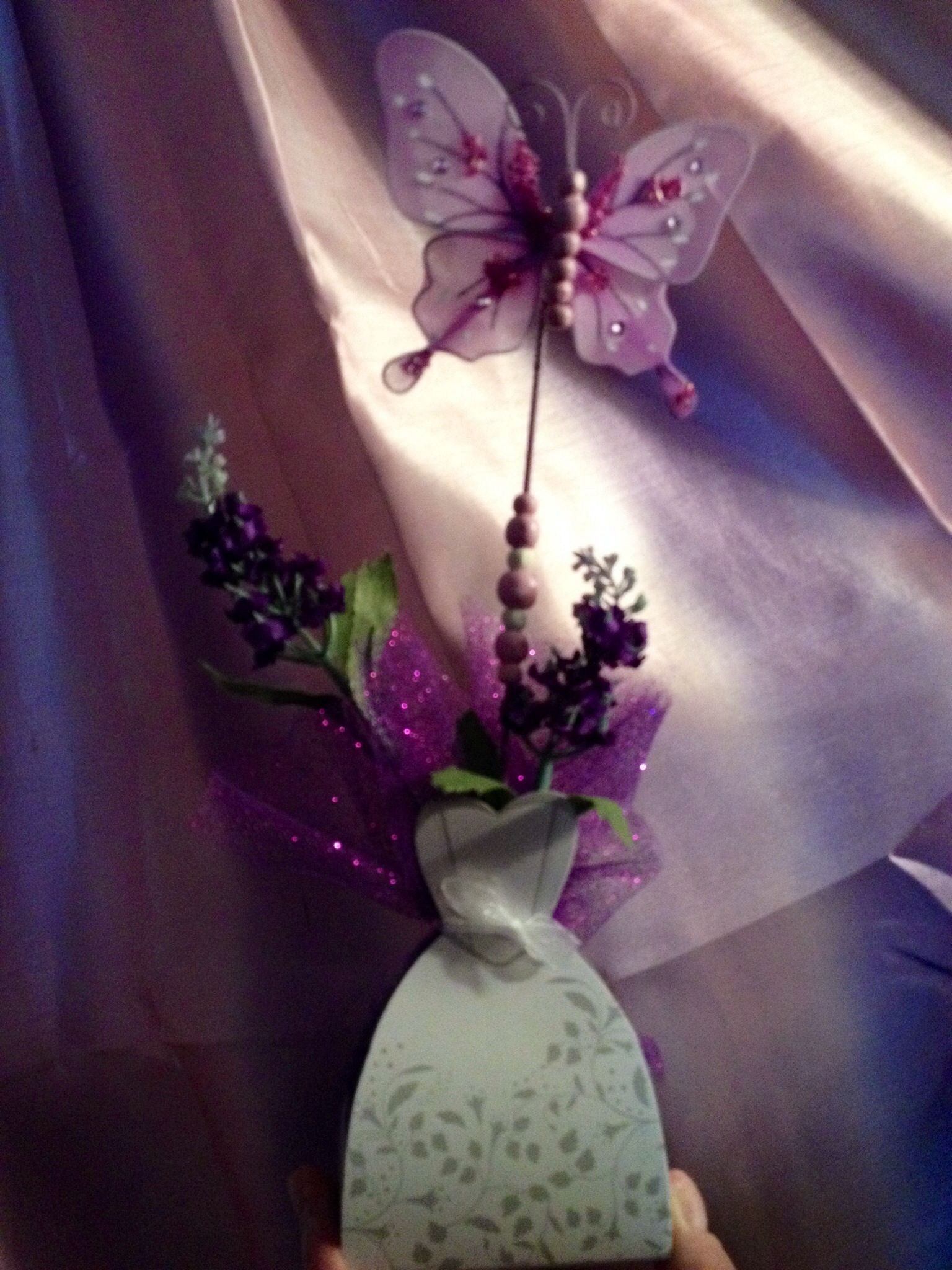 purple themed bridal shower%0A Centerpiece for purple bling and butterfly themed wedding shower