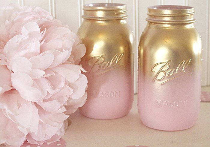 Pink And Gold Ombre Mason Jars|Baby Shower Mason Jars| Bridal Shower  Centerpieces