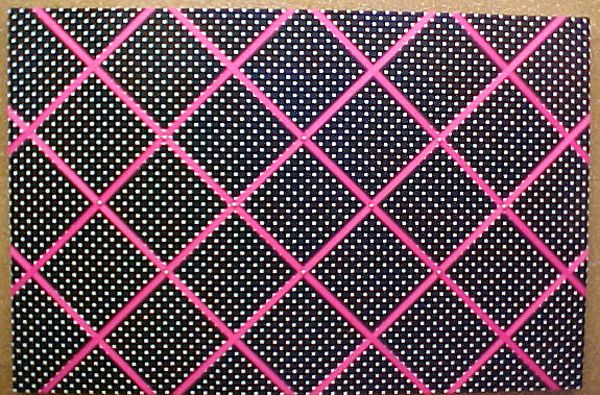 """FABRIC CORK BULLETIN BOARDS. Black with white polka dots with hot pink crisscross message ribbons. 24"""" x 36"""" $130.06; or, YOUR choice of over 1000 fabrics, or YOUR fabric; four standard sizes or custom size; with or without message ribbons; and lots more at  www.PushPinsAndFabricCorkBoards.com,  Category: FABRIC CORK BULLETIN BOARDS, Subcategory:BLACK. Also matching DECORATIVE PUSH PINS. #fabriccorkbulletinboards #decorativepushpins #fabricwallart #interiordesigners"""