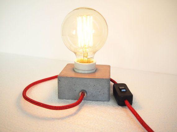 Lampe béton bloc Q | Lampe en beton, Ampoule vintage et Deco