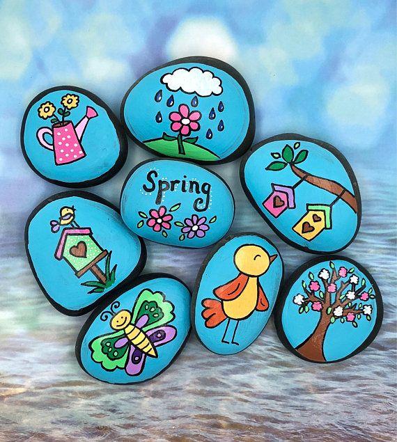 Merveilleux Mot-Clé Spring Story Stones, Spring Story Starters, Springtime Painted Rocks, Story Rocks, Flowers of Spring, Birds and Birdhouses Story Stones
