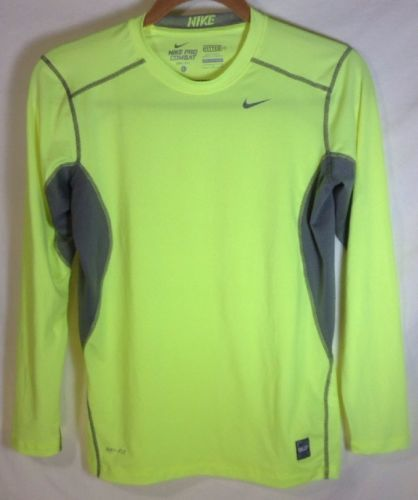 30a15482 Nike Pro Combat Shirt Large Boys Dri-Fit Fitted Long Sleeve Core Top Green  Neon