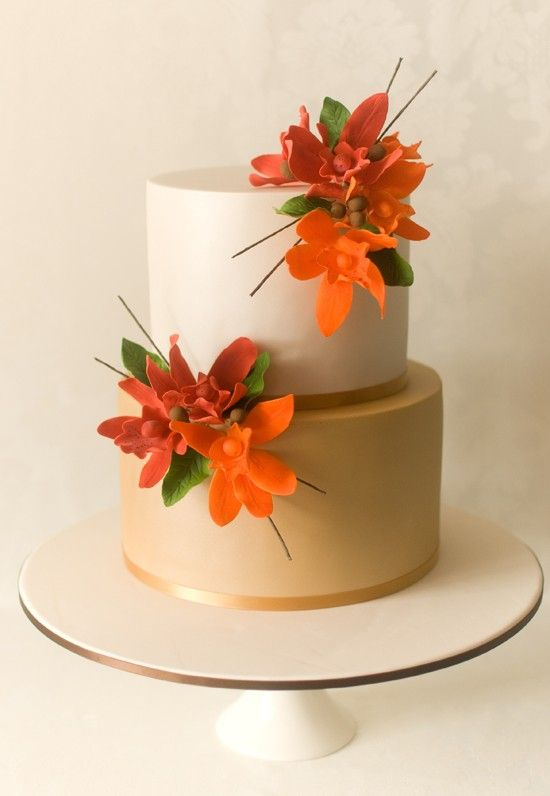 Orange Hibiscus Flower Wedding Cake Orange And Green Wedding