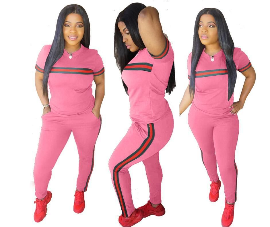 2565e84f8a2 Fashion Love Pink T shirt pant 2 piece Set for Women Plus Size Casual  Outfit Sweat Women s Two Piece Sets clothing