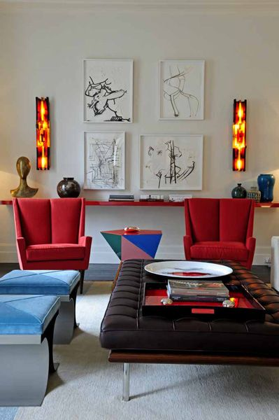Modern Room Designs And Colors: Great Use Of Line & Color. Interior Design By French Firm