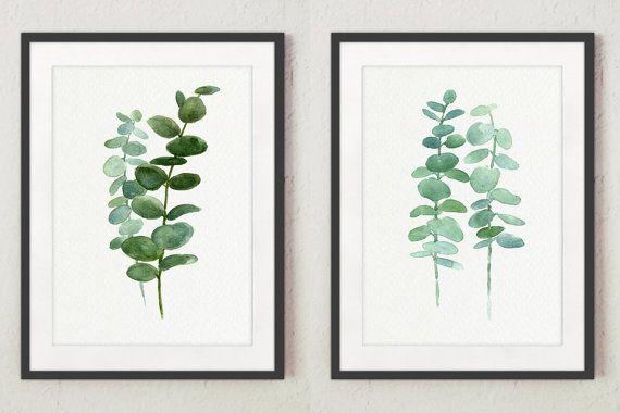 Eucalyptus Print set 2 Botanical Art Prints, Green Leaves Wall Decor ...
