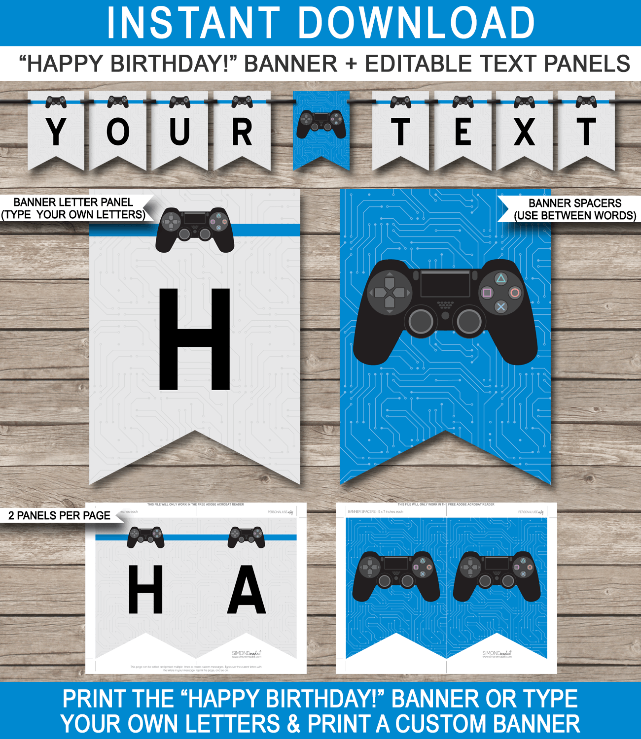 Playstation Birthday Party Pennant Banner Template Blue Birthday Party Pennants Pennant Banner Template Playstation Party