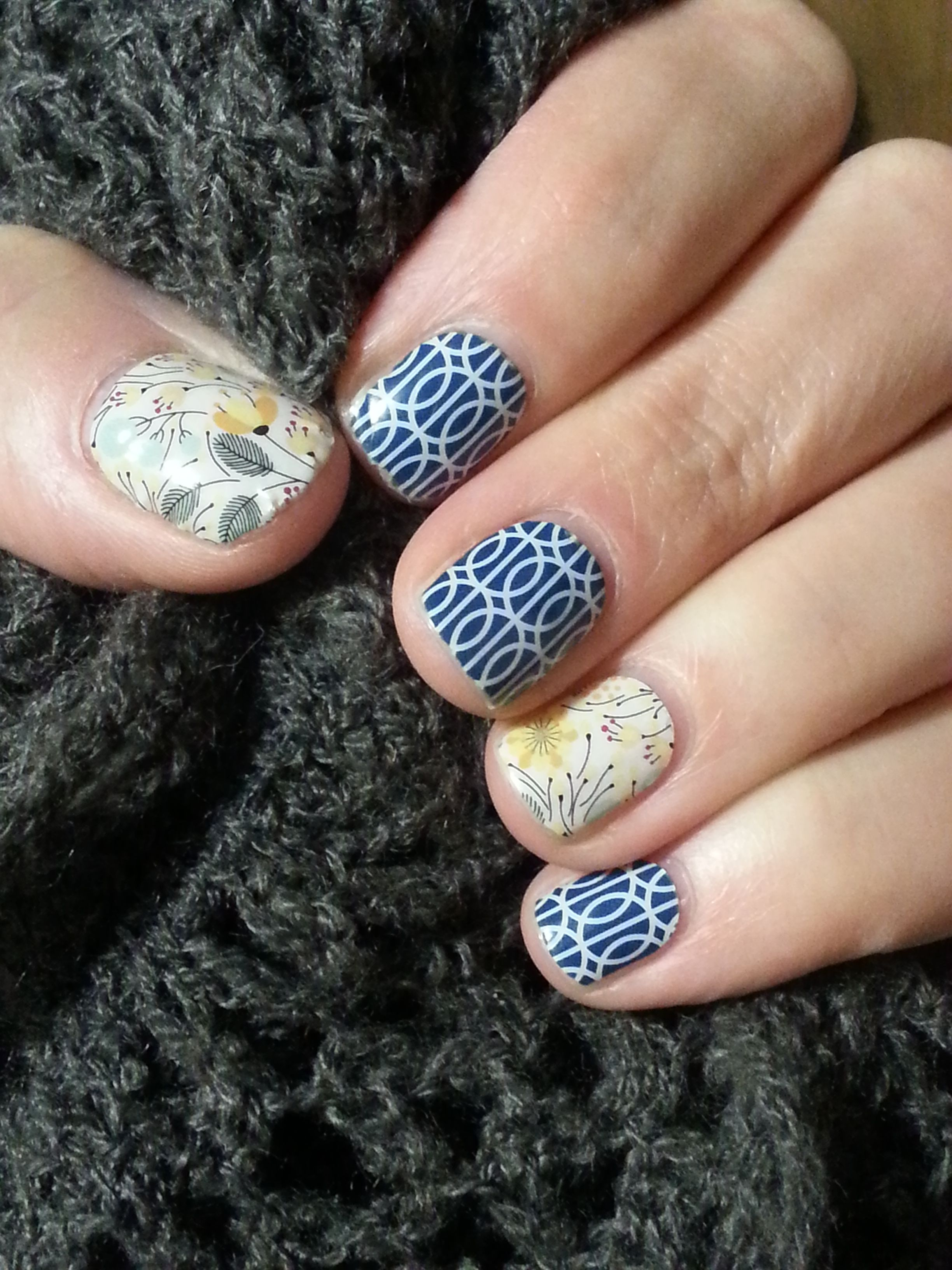 Jamberry nail wraps are an easy way to have fashionable nail art for a lot less! Pictured here is Mad Mod and Sweet Whimsy. http://tfreitag.jamberrynails.net #Jamberry