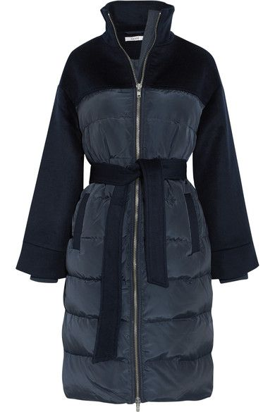 Midnight blue Fountain quilted shell and wool felt coat