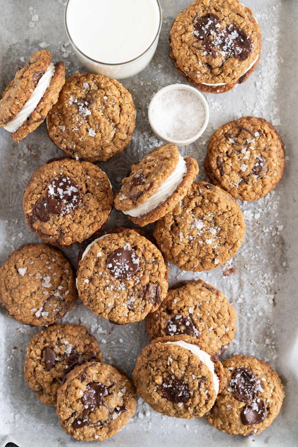 Oatmeal Chocolate Chunk Sandwich Cookies with Masc